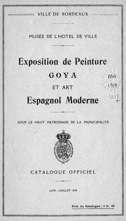 Lien vers la documentation de l'exposition Goya de 1919 à Bordeaux