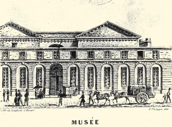 Aile nord du palais Royal (actuel palais Rohan), rue Montbazon. Gravure V.Philippe © Archives municipales-mairie de Bordeaux.