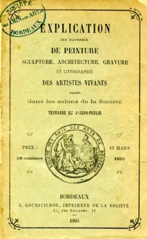 Lien vers le catalogue du salon de la Société des Amis des Arts de Bordeaux, 1893 (c)Documentation musée des Beaux-Arts - Mairie de Bordeaux