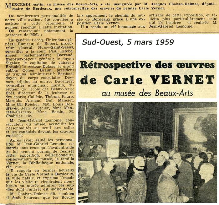"""Article du Sud-Ouest du 5 mars 1959 sur l'exposition de 1959 """"Carle Vernet"""""""